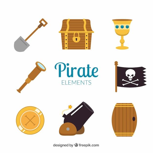 Kanon en andere piratenelementen Gratis Vector