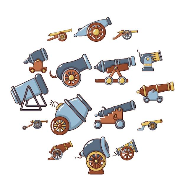 Kanon retro icon set, cartoon stijl Premium Vector