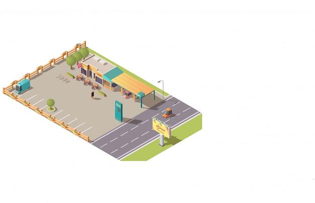 Kant van de weg cafetaria of road cafe gebouw isometrisch Gratis Vector