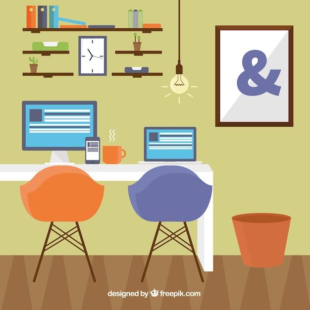 Kantoor aan huis in moderne stijl vector gratis download - Kantoor aan huis outs ...