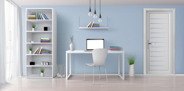 Kantoor aan huis zonnige kamer met eenvoudige, witte meubels 3d-realistische vector interieur. laptop met het lege scherm op bureau, boekenrek op blauwe muur, rek met klok en bloempottenillustratie Gratis Vector