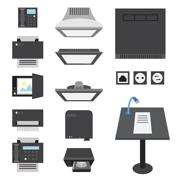 Kantoor- en presentatiepictogrammen voor werkplek en presentatie. Premium Vector