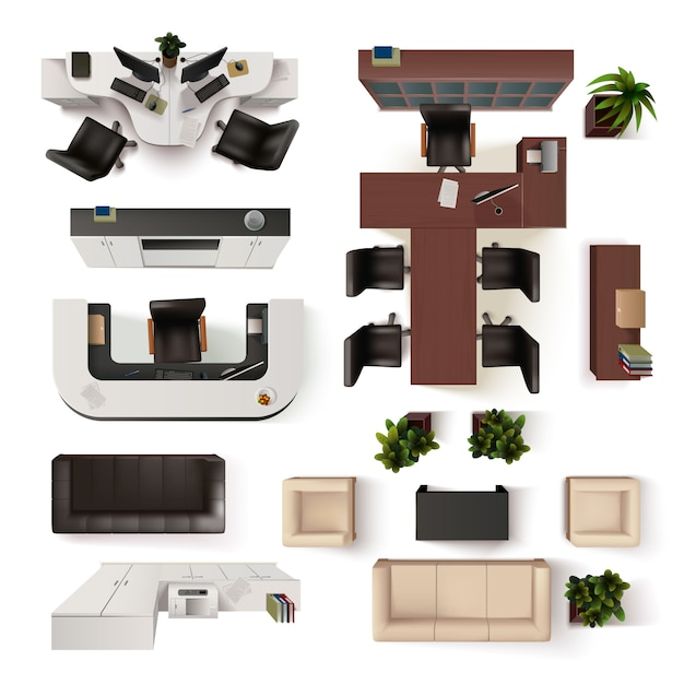 Kantoor interieur elementen collectie Gratis Vector