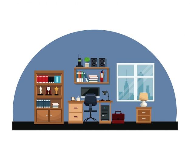 Kantoor interieur kamer bureaustoel raam tafel aktetas boekenplank klok lamp Premium Vector