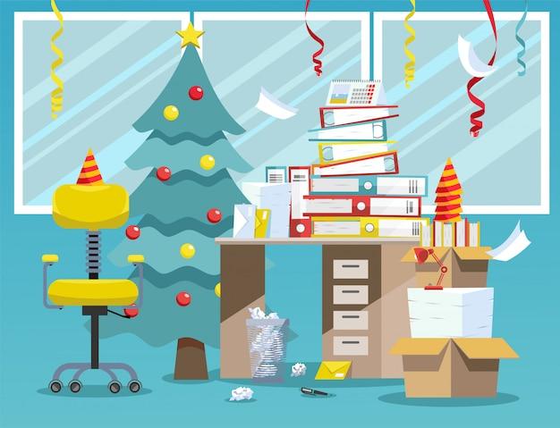 Kantoor interieur na nieuwjaar viering. wanorde na bedrijfsfeest op kantoor: nieuwjaarsboom, papieren doppen, serpentijn van plafond, stapel papieren documentenmappen Premium Vector