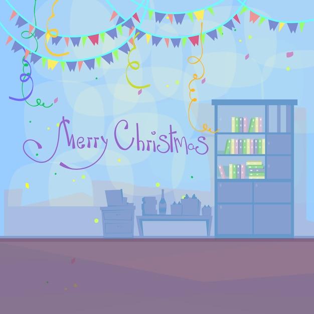 kantoor interieur vrolijk kerstfeest premium vector