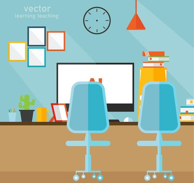 Kantoor leren en onderwijzen van vectorillustratie Premium Vector