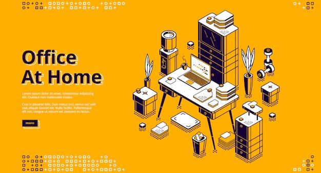 Kantoor thuis, werkplek isometrische banner Gratis Vector