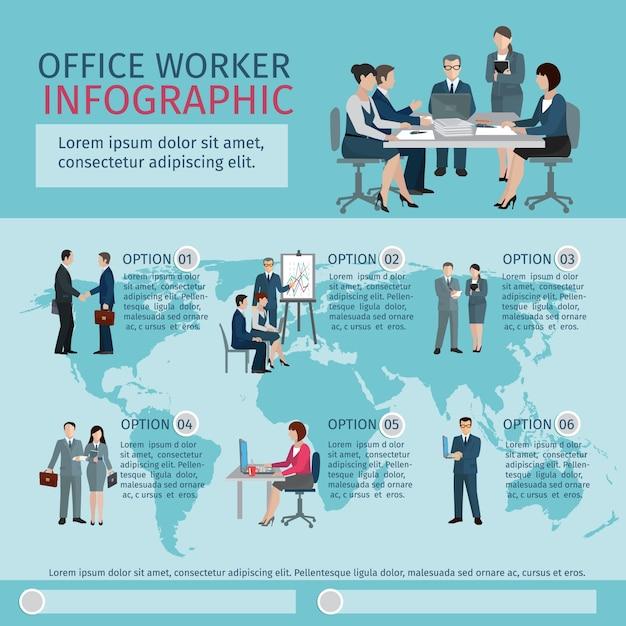 Kantoor werknemer infographics Gratis Vector