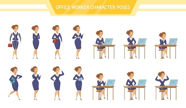 Kantoor werknemer vrouwelijke vormt set Gratis Vector