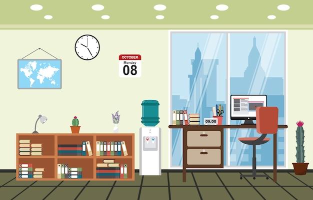 Kantoor werkplek werkruimte tafel bureau binnenkant kamer Premium Vector