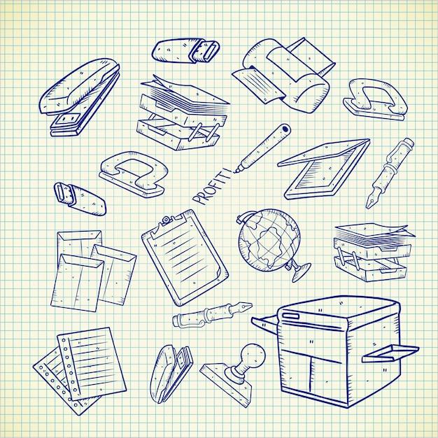 Kantoorapparatuur doodle set Premium Vector