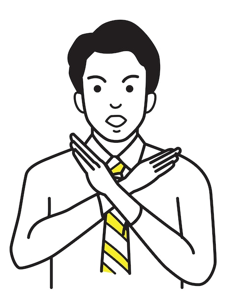 Kantoormedewerker die geen handteken of x-symbool maakt Premium Vector
