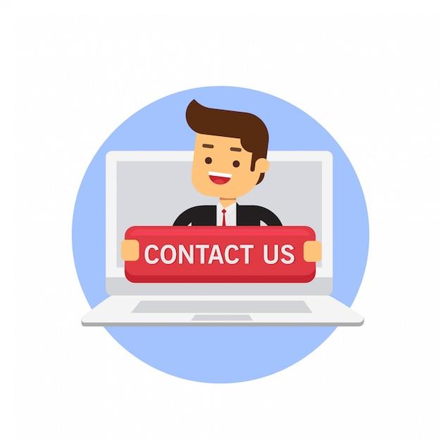 Kantoormedewerker holding groot neem contact met ons op aanmelden in de laptop Premium Vector