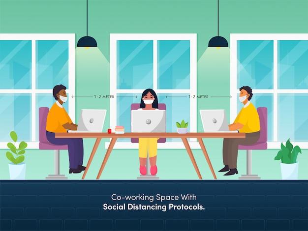 Kantoormedewerkers die sociale afstand bewaren tijdens het samenwerken op de werkplek om het coronavirus te voorkomen. Premium Vector