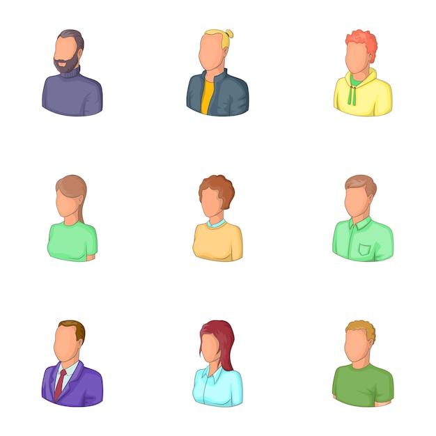 Kantoorpersoneel avatars iconen set, cartoon stijl Premium Vector