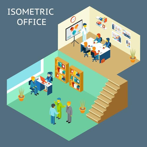 Kantoorwerk. isometrische 3d-weergave in vlakke stijl van kantoorpersoneel. Premium Vector