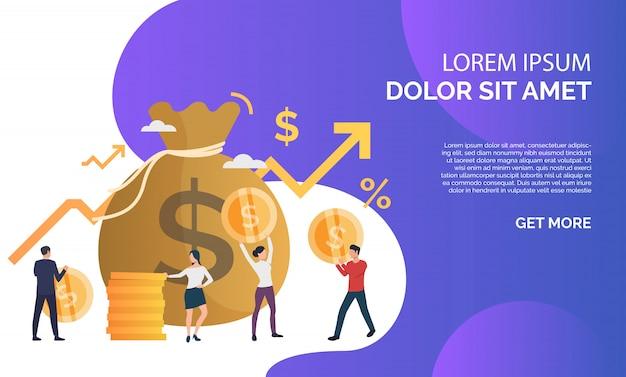 Kapitaal die purpere presentatieillustratie verhogen Gratis Vector