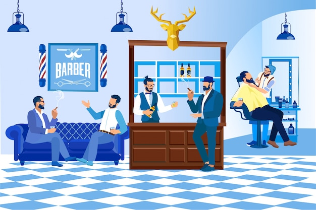 Kapper doet klant kapsel in barbershop, fashion Premium Vector