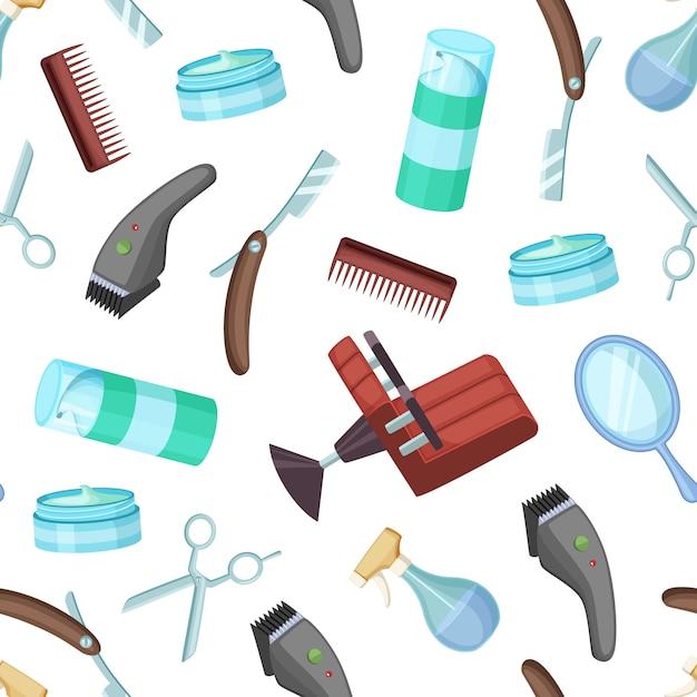Kapper kapper cartoon elementen patroon schaar en accessoires kam en scheermes Premium Vector