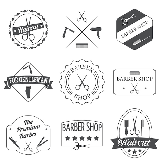 Kapper labelset Gratis Vector