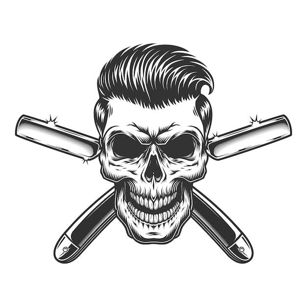 Kapper schedel met stijlvol kapsel Gratis Vector