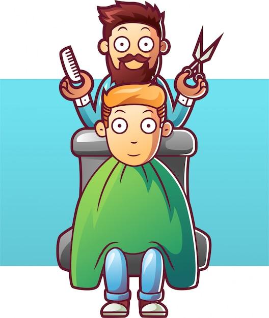 Kappermens die het haar van een cliënt snijdt Premium Vector