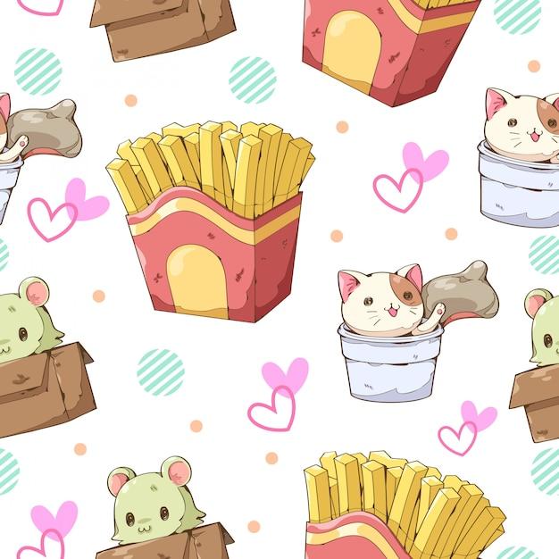 Karakter cartoon ontwerp van franse frietjes, kat cup en kat box naadloze patroon Premium Vector