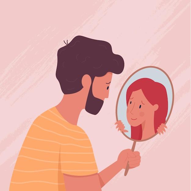 Karakter dat het innerlijke zelf in de spiegel ziet Gratis Vector