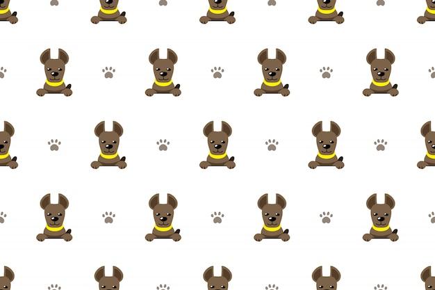 Karakter hond naadloze patroon achtergrond Premium Vector