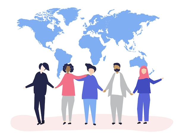 Karakter illustratie van mensen Gratis Vector