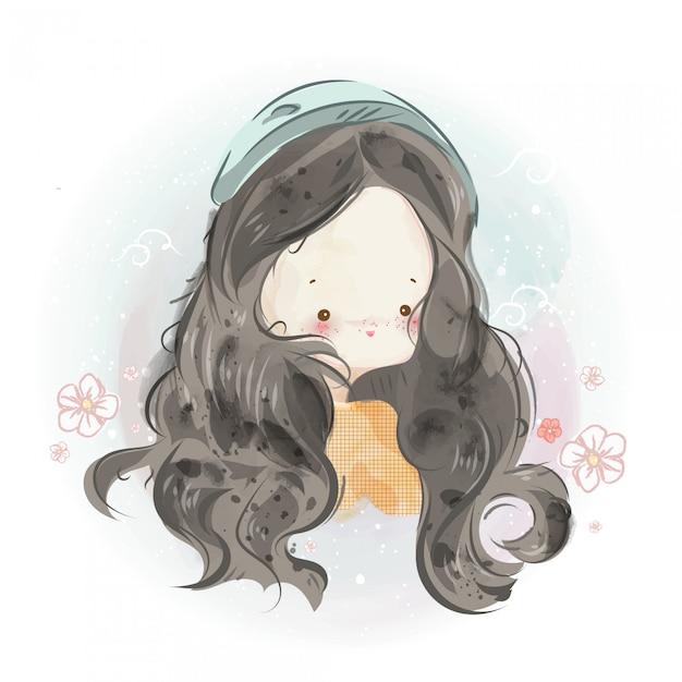 Karakter in mooie meisje en jongen aquarel stijl. Premium Vector