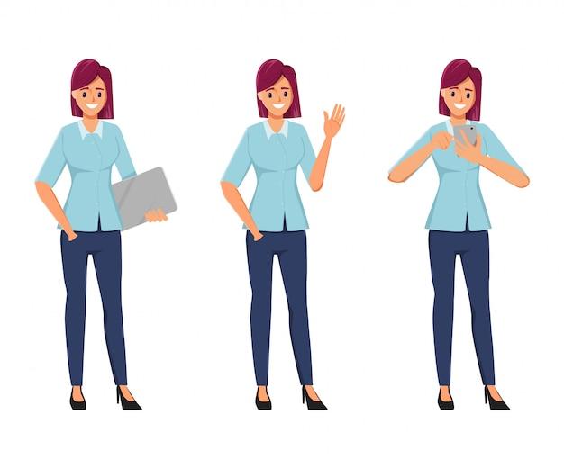 Karakter kantoor vrouw pose in freelance job creatie karakter Premium Vector