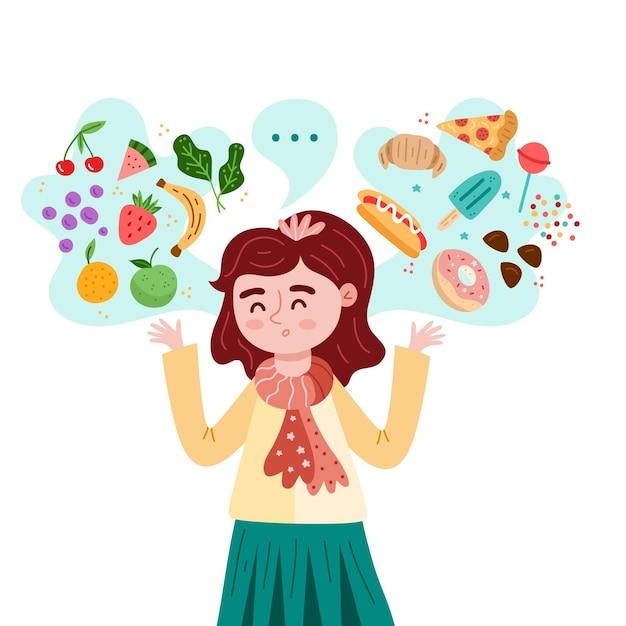 Karakter kiezen tussen gezond en ongezond voedsel Gratis Vector