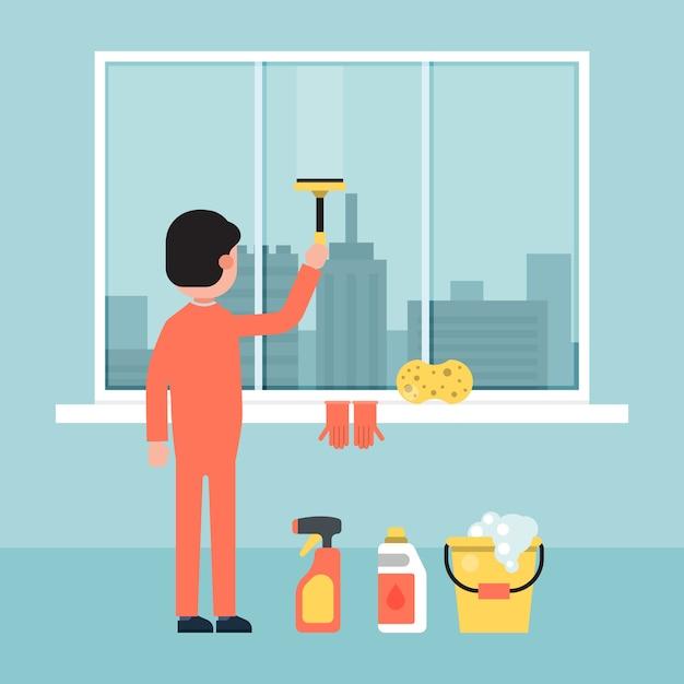 Karakter mannelijk schoonmakend de bouwvenster, de stads van het achtergrond wasscherm illustratie. bouw van stedelijk dienstpersoneel. Premium Vector