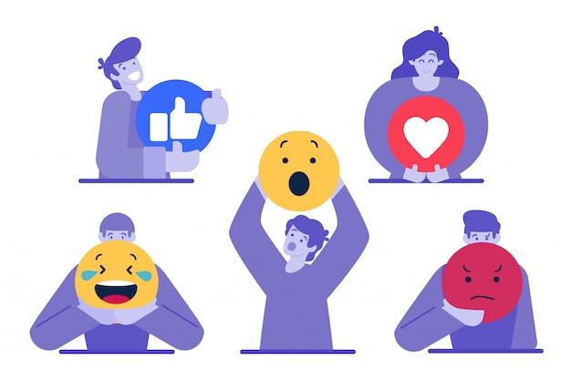 Karakter met emoticon Premium Vector