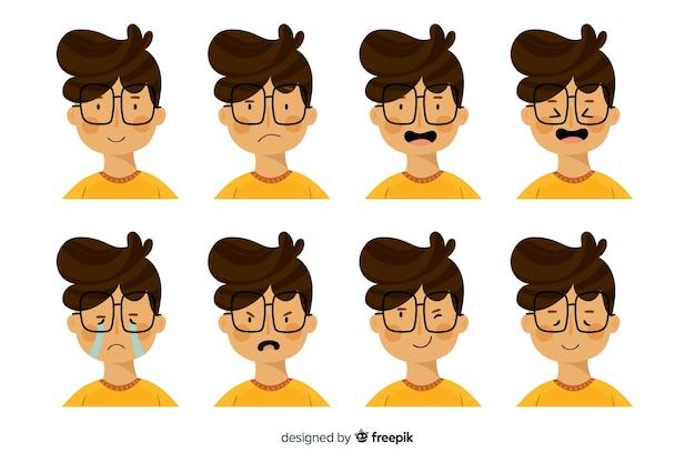 Karakter met emoties Gratis Vector