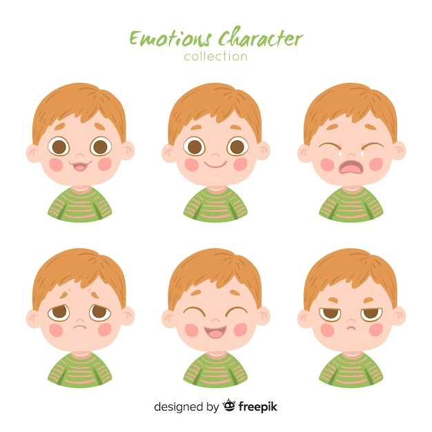 Karakter met emoties Gratis Vector