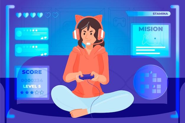Karakter spelen van videogame concept Gratis Vector
