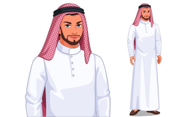 Karakter van de arabische man Premium Vector