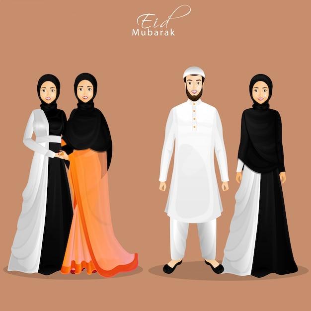 Karakter van islamitische mensen in hun traditionele kleding voor eid Premium Vector