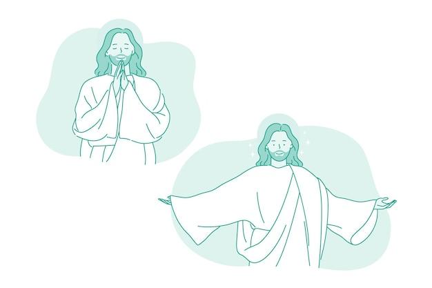 Karakter van lachende god jezus christus met gestrekte armen Premium Vector