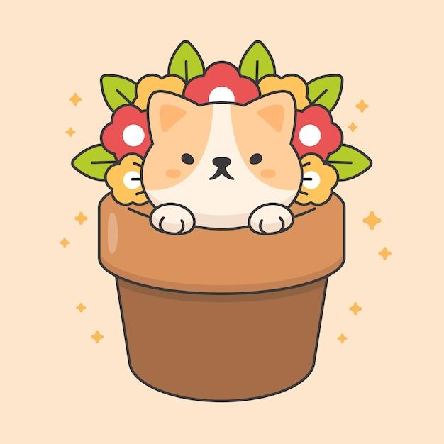 Karakter van schattige kat in een bloempot Premium Vector