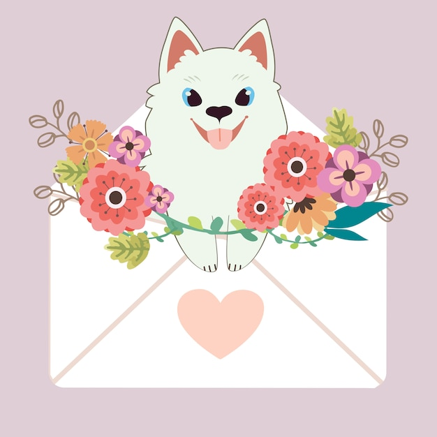 Karakter van schattige samojeed hond zit in de brief met hart sticker en bloem op paars Premium Vector