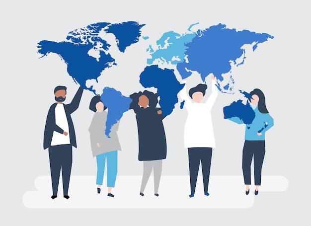 Karakterillustratie van diverse mensen en de wereld Gratis Vector