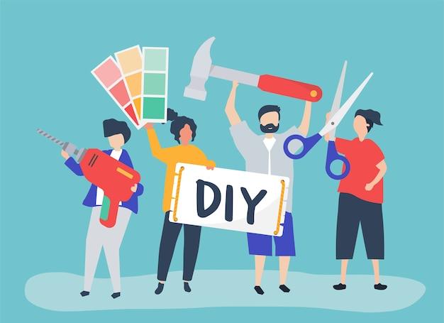 Karakterillustratie van diy-het concept van de huisverbetering Gratis Vector