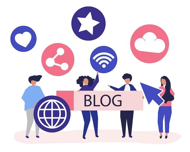Karakterillustratie van mensen die blogging pictogrammen houden Gratis Vector