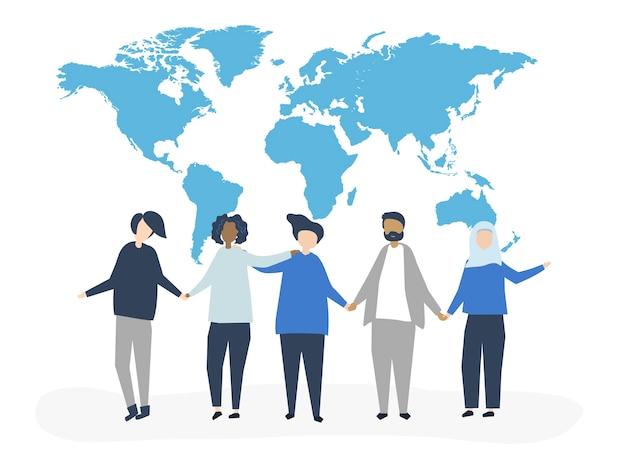 Karakterillustratie van mensen met een wereldkaart Gratis Vector