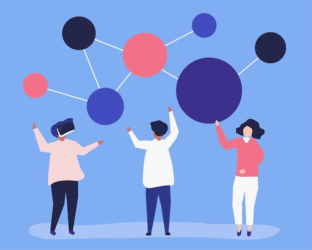 Karakterillustratie van mensen met voorzien van een netwerkpictogram Gratis Vector