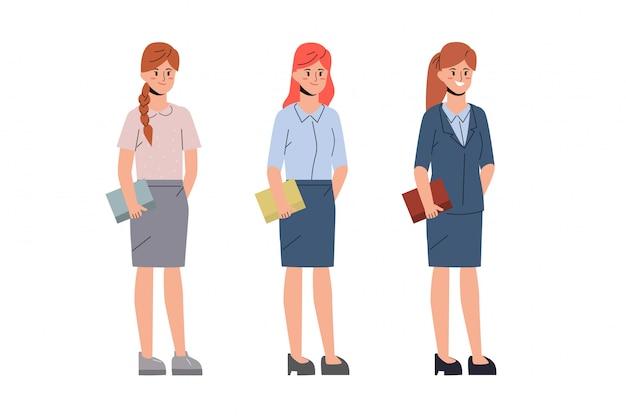 Karaktermensen van vrouwen in kantoorbaan. Premium Vector